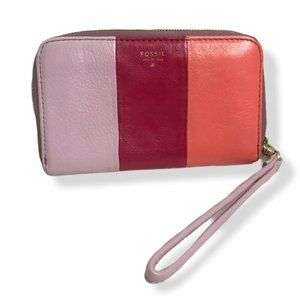 Fossil Color Block Leather Wristlet Pinks
